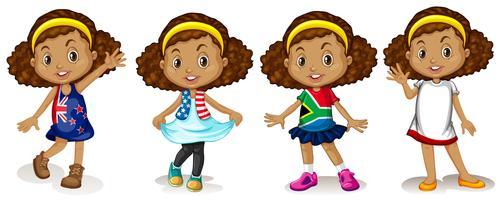 Liten flicka bär skjortor från olika länder vektor