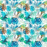 Seamless exotiskt mönster med tropiska löv. vektor
