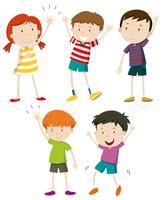 Eine Reihe von Kindern winken vektor