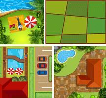 Uppifrån av hus och park vektor