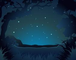 Waldszene in der Nacht vektor