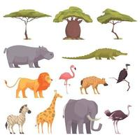 Safari-Flora-Fauna-Set-Vektor-Illustration vektor