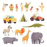 Safari-Reiseikonen stellten Vektorillustration ein vektor