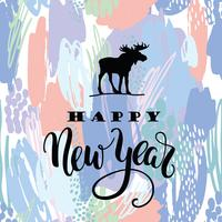 Gott nytt år. Vektor bokstäver kalligrafi design på konstnärligt