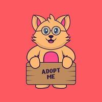 süße katze, die ein poster hält, adoptiere mich. vektor