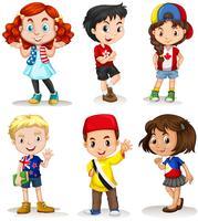 Jungen und Mädchen aus verschiedenen Ländern vektor