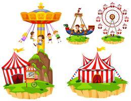 Barn på olika typer av åkattraktioner på parken vektor