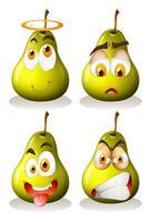 Färsk päron med ansiktsuttryck