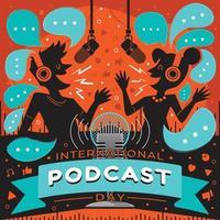Internationales Podcast-Tageskonzept mit Cartoon-Silhouette-Interview vektor