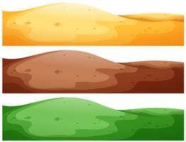 Drei Szenen von Hügeln mit unterschiedlichem Farbboden vektor