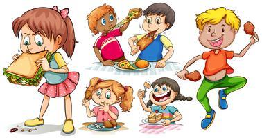 En uppsättning barn som äter snabbmat vektor