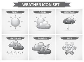 Väderikon med olika typer av väder