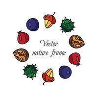 Vintage Nüsse, Beeren, Früchterahmen vektor