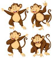 Affencharakter mit unterschiedlicher Haltung vektor