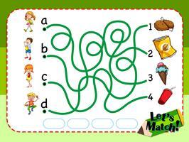 Spielvorlage mit passenden Kindern und Snacks vektor