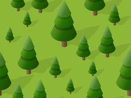 nahtloser Wald Tannenbaum Muster Kartenhintergrund 3D-Darstellung vektor
