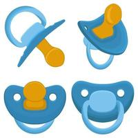 großes buntes Set Baby Schnuller, Schnuller mit Gumminippel vektor