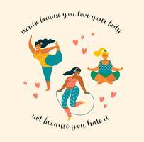 Körper positiv Happy Plus Size Girls und aktiver Lebensstil. vektor
