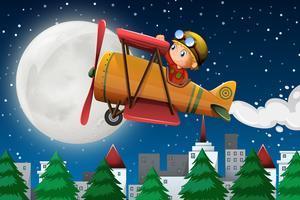 Ein Junge, der klassisches Flugzeug reitet