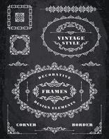 Set Retro Vintage Frames und Grenzen. Kreidebrett Hintergrund