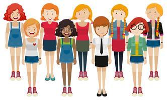 Kvinnor i olika kostymer vektor