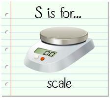 Flashcard-bokstaven S är för skalan