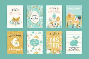 Frohe Ostern. Vektorvorlagen für Karten, Poster, Flyer und andere Benutzer. vektor