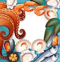 Sats med färska skaldjur vektor