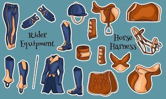 Große Ausrüstung für den Reiter und Munition für die Pferdeillustration im Cartoon illustration vektor