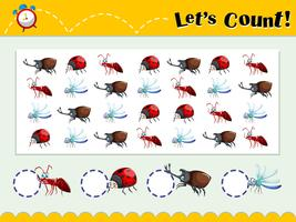 Spielvorlage mit Insekten zählen vektor