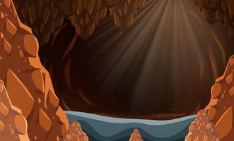 En översvämd mörk grotta