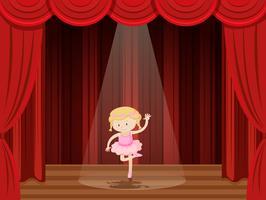 Ein Mädchen führt Ballett auf der Bühne durch vektor