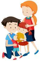 Elternteil und Kinder auf weißem Hintergrund