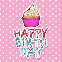 Kartenvorlage zum Geburtstag mit Cupcake vektor