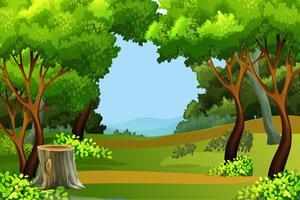 Grüner Waldszenenhintergrund vektor