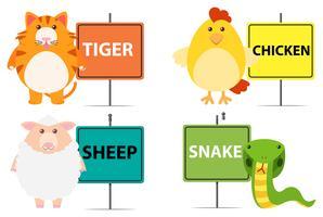 Schild mit verschiedenen Tierarten