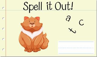 Sprich Englisch Wort Katze vektor