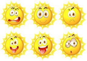 Sol med olika ansiktsuttryck vektor