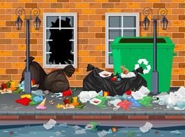 Müll im Stadthintergrund