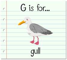 Der Flashcard-Buchstabe G ist für Möwe vektor