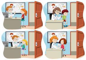 Eine Reihe von Kindern und medizinische Versorgung