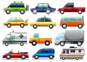 Olika typer av bilar vektor