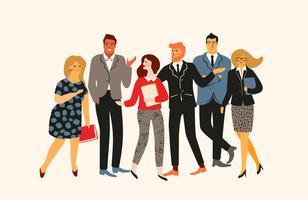Vectior illustration av kontorsfolk. Kontorsarbetare, affärsmän, chefer.
