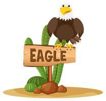 Adler auf Holzschild vektor