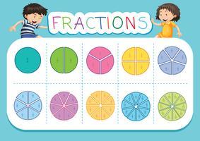 Matematik fraktion arbetsblad bakgrund vektor