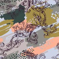 Eklektiskt sömlöst mönster med sprayfärg och barock prydnad. vektor