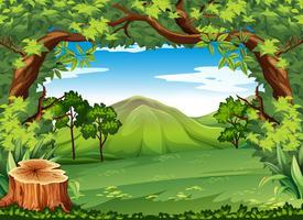 Bergscen med gröna träd