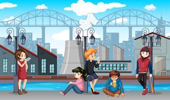 Grupp av dåliga tonåringar scen