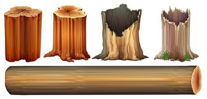 Ein Baumstamm und Baumstümpfe vektor