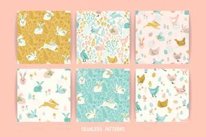 Vektor sömlösa mönster med kaniner och kyckling för påsk och andra användare.